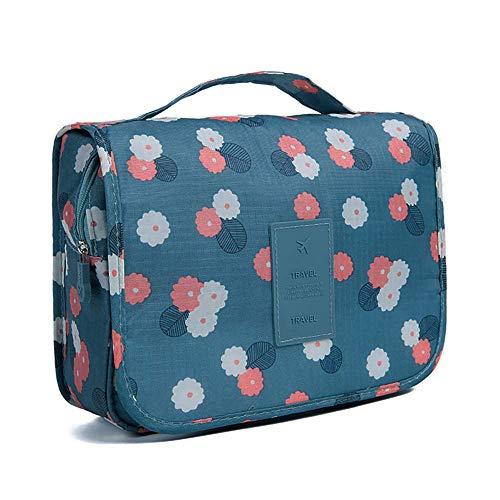 KAEHA SUN-42-02-FLOWER - Beauty case impermeabile, per viaggio, campeggio, colore: blu