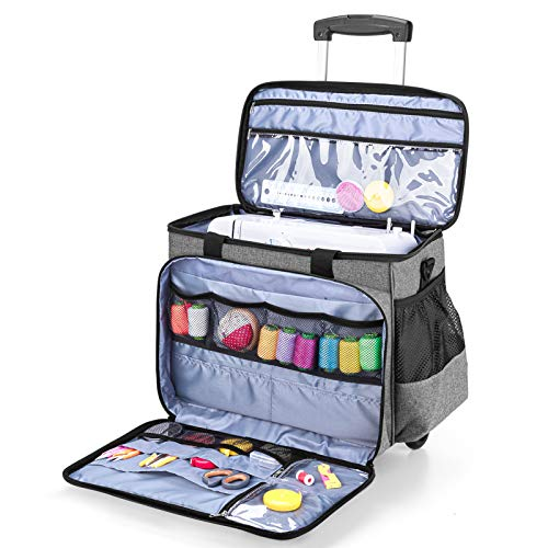 Luxja Sewing Machine Case with Detachable Dolly and Removable Bottom Pad, Rolling Sewing Machine Tote Fits for Most Standard Sewing Machines, Gray