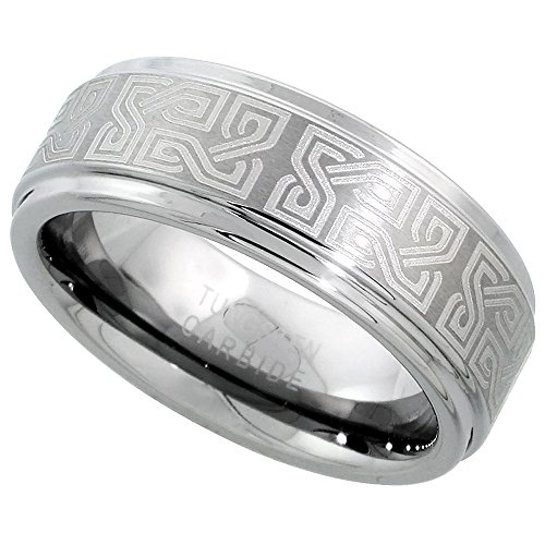 Sabrina Silver Tungsten Carbide 8 mm Flat Wedding Band Ring Etched Celtic Knots Recessed Edges, Size 8.5