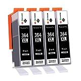 GPC Image Cartouche d'encre 364XL Compatible pour HP 364 pour HP Photosmart 5510 5520 5522 5520 6520 B8550 7510 7520 5524 6510 5515 B109a B110a HP Officejet 4620 4622 HP Deskjet 3070A 3520 (4 Noir)
