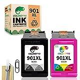 COLORETTO Cartucho de Tinta Remanufacturado para HP 901XL 901 XL(1 Negro,1 Tricolor) Compatible con Officejet J4624 4500 G510n J4524 J4600 Impresoras(La Edición Especial Incluye 1 Clip para Pluma)