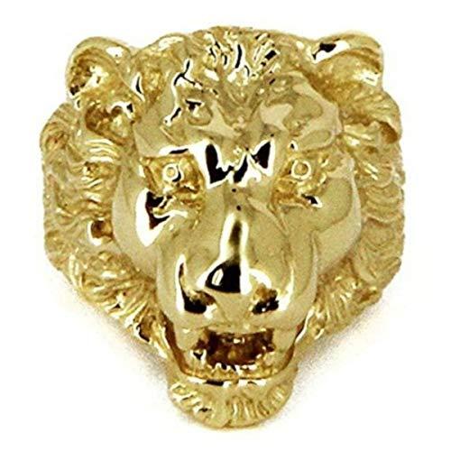 Chevalière tête de lion or 9 carats - Bague tête de lion en or massif pour homme - CHVLIONGM-9