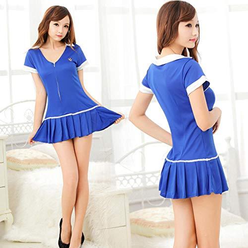 Fun-ondergoed bodys voor dames sexy lingerie voetbal babe blauw pak sexy uniform