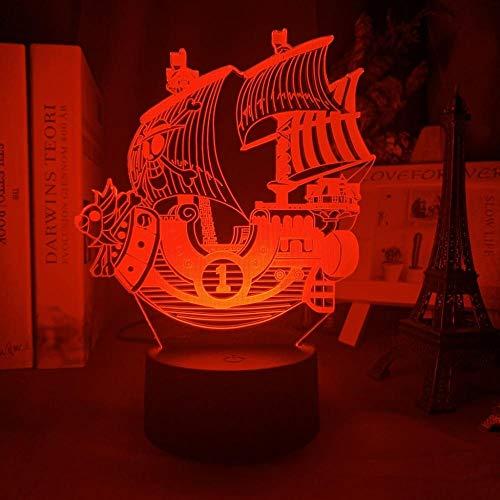3D Nacht Lampe Illusion Lampe Anime einteiltausend Sunny Ship-Modell Kinder Nachtlicht für Schlafzimmerdekor Licht cooles Geschenk für Kinderstudienzimmer Tischlampe 3D ZMSY