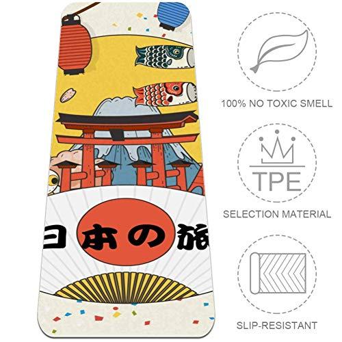 Eslifey - Esterilla de yoga para yoga con diseño de turismo japonés, antideslizante, para mujeres y niñas, esterillas de pilates suaves, 183 x 61 cm de grosor