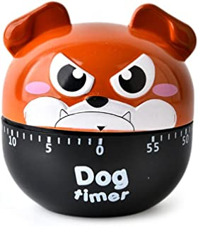 Cute Cartoon Dog Machinery Timers 60 Minutes Mechanical Kitchen Cooking Timer Clock Loud Alarm Counters Manual Timer Mini Size Kitchen Utensil (Brown)