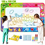 Fivejoy Agua Dibujo Pintura, 150 x 100 cm Agua Dibujo Doodle, Dibujo Agua Niños con 4 Bolígrafos Mágicos, 4 Sellos de Dibujos Animados, 1 Rodillo de Dibujos Animados, 1 Almohadilla de Tinta, 1 Folleto