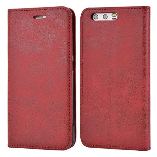 Mulbess Handyhülle für Huawe P10 Hülle Leder, Huawe P10 Handytasche, Slim Flip Schutzhülle für Huawe P10 Case, Wein Rot