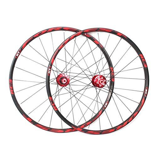Juego de Ruedas MTB para Bicicleta de montaña 26 27,5 Pulgadas Rodamiento Sellado de llanta de aleación de Doble Capa 8 9 10 11 Velocidad Cassette Hub Freno de Disco QR 24H (Color: A, Tamaño