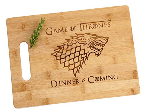 Game of Thrones Dinner is Coming Laser Engraved Bamboo Wood Small Cheese Cutting Board 85x11 Funny Gift