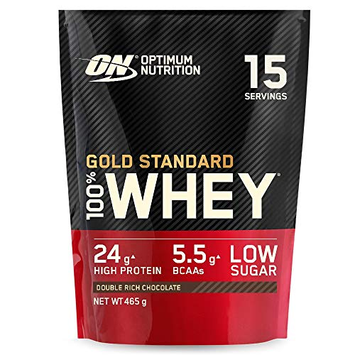 Optimum Nutrition Gold Standard Whey Protein Powder Muscle Building Supplements With Glutamine and Amino Acids, Double Rich Chocolate, 14 Servings, 450 g, Packaging May Vary