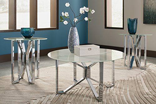 Ashley Furniture Signature Design - Tangeline Contemporary 3-Piece Table Set - Includes Cocktail Table & Two End Tables - Brushed Nickel Finish