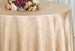 Wedding Linens Inc. 120 inch Round Crinkle Crushed Taffeta Tablecloths, Round Table Cover Linens for Round Banquet Tables - Champagne