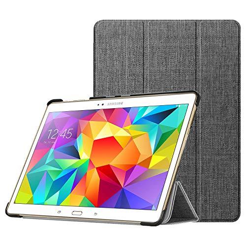 Fintie Hülle für Samsung Galaxy Tab S 10.5 T800 T805 (10,5 Zoll) Tablet-PC - Ultra Schlank superleicht Ständer SlimShell Cover Schutzhülle Etui Tasche mit Auto Schlaf/Wach Funktion, Stoff dunkelgrau