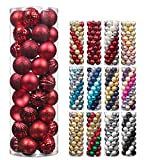 Christmas Balls,45Pcs 2.36inch Glitter Christmas Tree Ornaments Hanging Christmas Home Decorations for Home House Bar Party(Red/Wine)