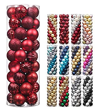 Christmas Balls,45Pcs 2.36inch Glitter Christmas Tree Ornaments Hanging Christmas Home Decorations for Home House Bar Party Red/Wine