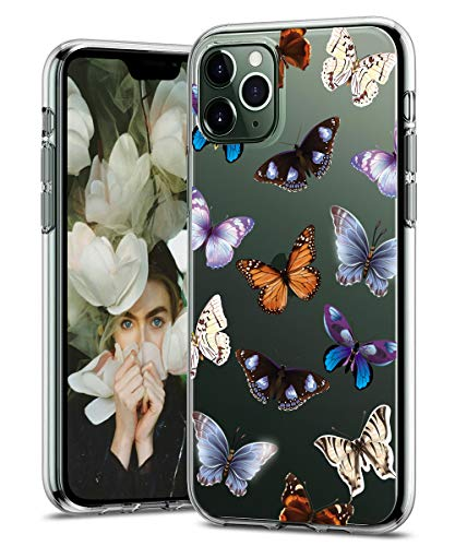 iPhone 11 Pro Max Case 6.5 inch, Zenhole Floral Pattern Clear Design Transparent Hard Slim Case with TPU Bumper Protective Case Cover Compatible for iPhone 11 Pro Max 6.5 inch 2019 - Butterfly