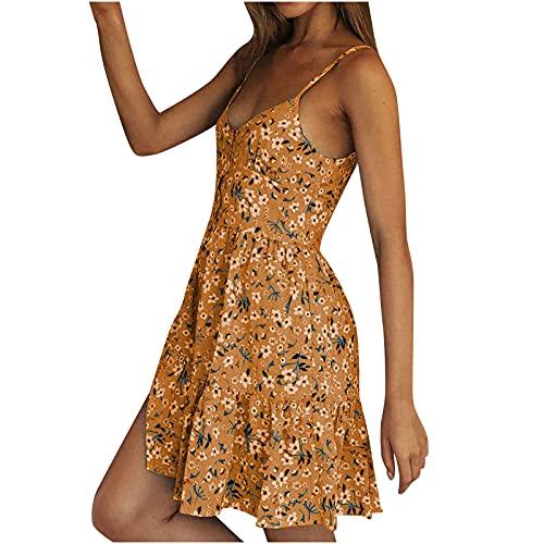 Vestido de verano para mujer, sexy, sin mangas, corto, vestido de noche, elegante, informal, cuello en V, estampado de flores, vestido corto informal, para primavera y verano, línea A amarillo L