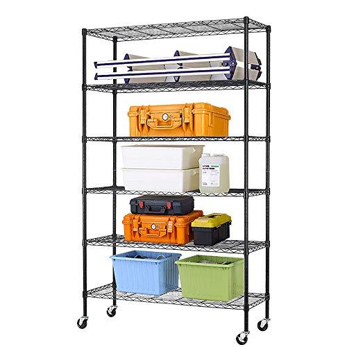 6 Tier Wire Shelving Unit Rack NSF Heavy Duty Height Adjustable Storage Shelf Metal Shelving with Wheels/Feet Levelers Garage Rack Kitchen Rack Office Rack Commercial Shelving - Black - 18x48x82