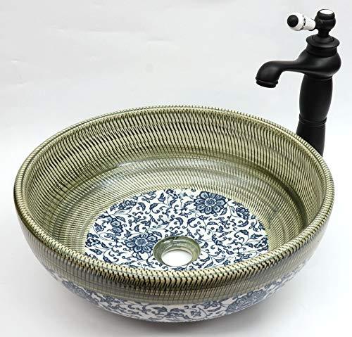Waschschüssel für Badezimmer, Vintage-Stil, Keramik, Blumenmuster