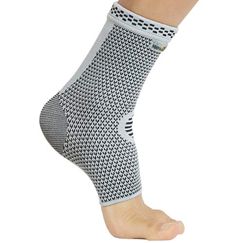 Neotech Care Ankle Support Sleeve (1 Unit) - Bamboo Fiber Knitted Fabric - Light, Elastic & Breathable - Medium Compression - Sports, Exercise, Gym - Right or Left Foot, Men, Women - Grey (Size L)