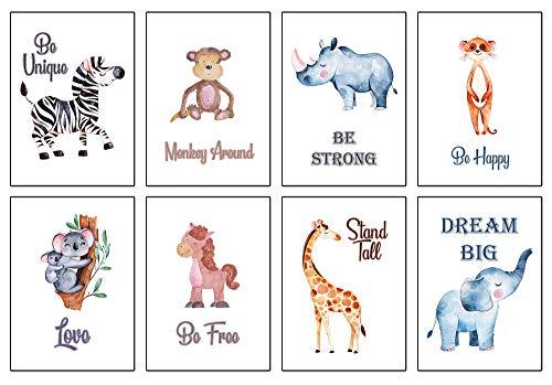 Poster für Kinderzimmer & Babyzimmer - 8 Tribal-Tier Poster-Set für Mädchen und Jungen