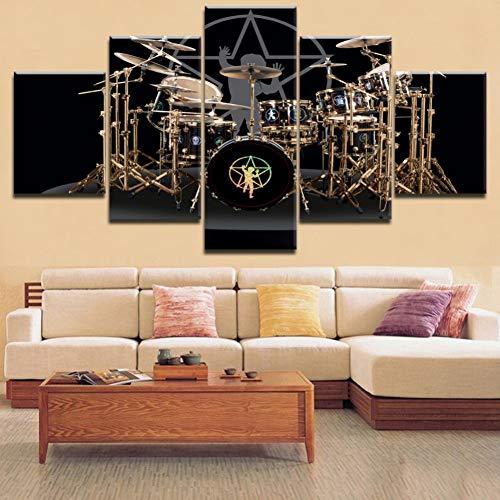 (size 3) Moderne leinwand bild HD print wandkunst 5 stücke musikinstrument schlagzeug wohnzimmer dekoration malerei poster bild