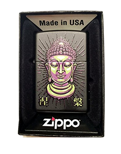 Zippo Custom Lighter - Tattoo Buddha Statue Face - Regular Black Matte