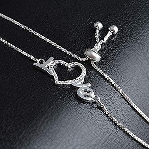 Aluyouqi Co.,ltd Collar Pulsera Collar Pulsera Mujer Plata Pulsera con Cadena Amor Regalo de Boda Joyas Regalos