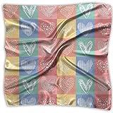 FUGVO Heart Hand Drawn Seamless Vintage Lady Printed Square Bufanda Headdress Neck Satin Scarves Wrap Shawl Kerchief
