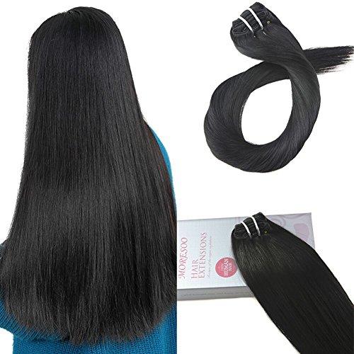 Moresoo Haar Clips Verlängerung Echthaar Clip in Schwarz/#1B Extensions für Komplette Kaarverlängerung Remy Hair Extensions Clip in Echthaar 24zoll/60cm 7pcs 100gram