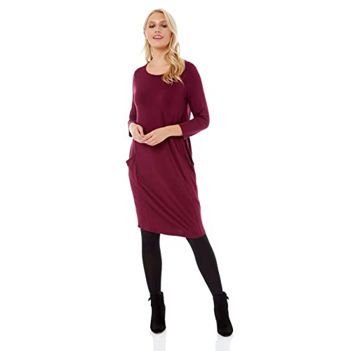 2af2f25c5a53 Roman Originals Women 3 4 Sleeve Slouch Pocket Dress - Ladies Fashion  Casual Everyday Laidback