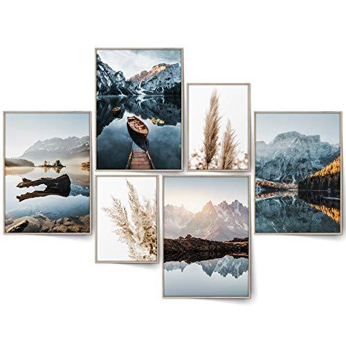 BLCKART Infinity Dreamy Mountains Bilder Set Stilvolle Beidseitige Natur Landschaft Berge Poster Wohnzimmer Deko (M | 4x A4 | 2x A5 | ohne Rahmen, DREAMY MOUNTAINS)
