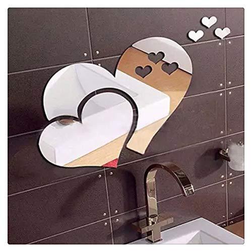 HONGBI DIY 3D Wandaufkleber Acrylic Mirror Wall Sticker 3D Badezimmer Spiegel die kreativen Montage Spiegel Schlafzimmer wc Wasser-resistente Oberfläche,Silber,1 Set (20 * 17CM)