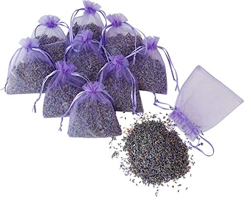 Organic Natural Dried Lavender Buds, Lavender Sachets for Drawers and Closets Fresh Scents, Home Fragrance Sachet, Organza Bags Filled With Dried Lavender Flowers (Pack of 10)
