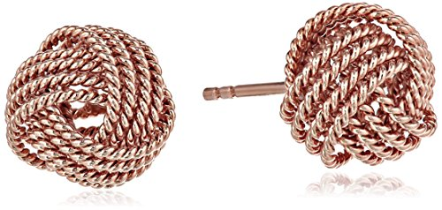 Amazon Essentials Rose Gold Plated Sterling Silver Twisted Love Knot Stud Earrings