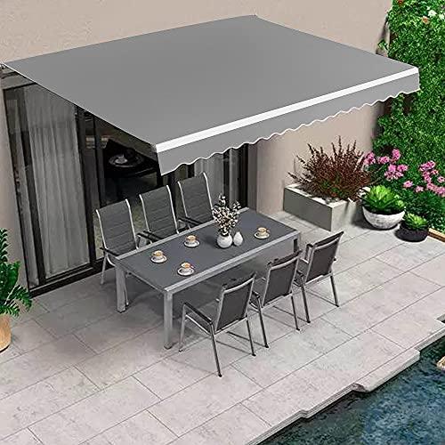 Dripex Markise Manuelle Gelenkarmmarkise Wasserdicht Gelenkmarkise Sonnenmarkise Sonnenschutz Grau 300 x 250 cm für Terrasse Balkon