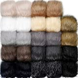 24 Pieces Faux Fox Fur Pom Pom Balls with Elastic Loop DIY Faux Fur Fluffy Pompoms Ball with Rubber Band Knitting Accessories for Hats Shoes Scarves Bags Keychain Charms (Dark Color)