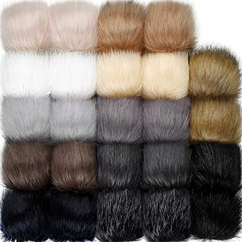 24 Pieces Faux Fur Pom Pom Balls with Elastic Loop DIY Faux Fur Fluffy Pompoms Ball with Rubber Band Knitting Accessories for Hats Shoes Scarves Bags Keychain Charms (Dark Color)