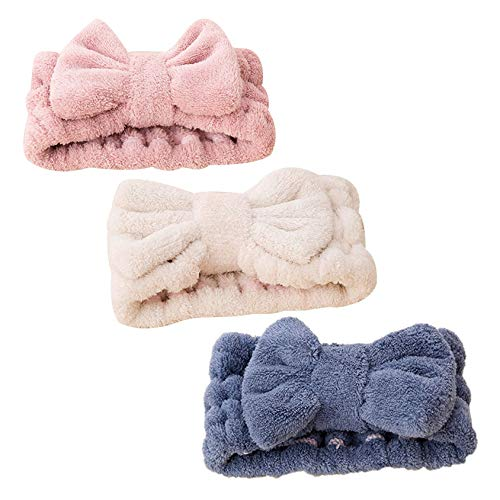 iwobi 3 pezzi Fascia per Capelli da Bagno,Fascia Capelli Trucco/Fascia Elastica per Capelli con Fiocco per Donne,blu, rosa, bianco