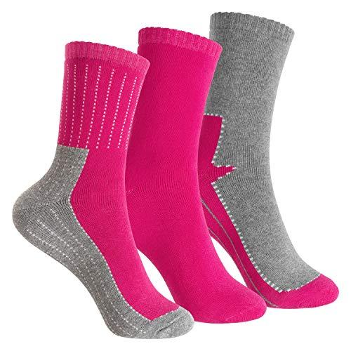 Footstar Kinder Frottee-Socken mit Motiv (3 Paar), Warme Socken mit Thermoeffekt - Pink 35-38