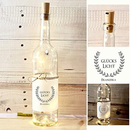 Glückslicht, origineller Glücksbringer - Persönliches Geschenk mit Namen zum Geburtstag, zur Prüfung oder als Genesungsgeschenk, personalisiertes Flaschenlicht