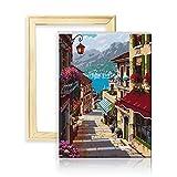 decalmile Pintura por Número de Kits DIY Pintura al Óleo para Adultos Ciudad del Puerto 16'X 20' (40 x 50 cm, con Marco de Madera)