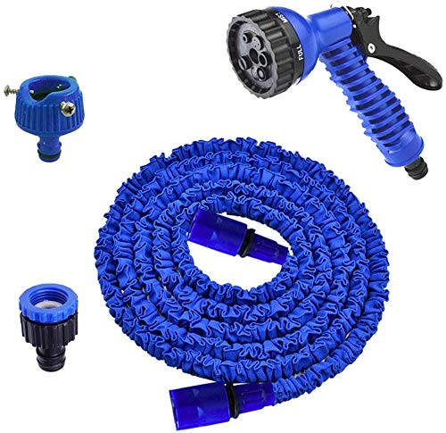 SWang-Tech 2020 改良型で耐久性・丈夫さUP 5m-15m 3倍に伸びるホース 7パタ ーン散水ノズル 三重構造 マジックホース 伸縮 ガーデニング 洗車 園芸 水やりベランダ・庭掃除用 軽量 ブルー
