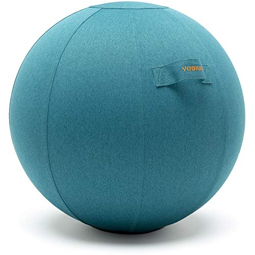 YOGIVO Sitting Ball Chair for Office and Home, Pilates Exercise Yoga Ball with Cover for Balance, Stability and Fitness, Ergonomic Posture Exercise Ball Seat with Handle and Pump (Ocean Blue, 24 in)