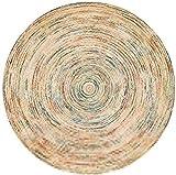 Modelo redondo Alfombra Alfombra de piso Círculo de yute natural trenzado Impreso Decoración En redonda alfombra antideslizante circular Alfombras de área for todas las habitaciones, de estilo rústico