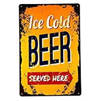 Ice Cold Beer served Here 金属板ブリキ看板警告サイン注意サイン表示パネル情報サイン金属安全サイン
