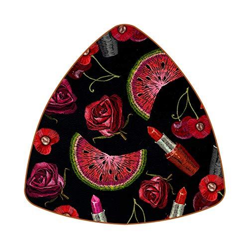 Posavasos triangulares para bebidas, bordado, pintalabios, rosas, sandía, cereza, taza de cuero, para proteger muebles, resistente al calor, decoración de bar de cocina, juego de 6