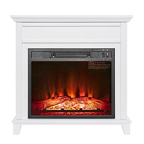 AKDY 27' Electric Fireplace Freestanding White Wooden Mantel Firebox 3D Flame w/Logs Heater