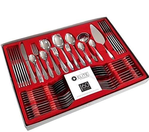 Set de cubiertos 60 Pzas cubertería en acero inoxidable tenedor cuchillo cuchara